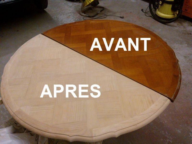 D capage d 39 une table ronde nettoyage vapeur d capage carrosserie et la - Renover table en bois ...